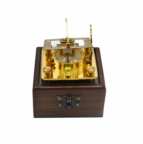 "Brass 3"" Square Folding Sundial Compass in a Etched Glass Top Box"