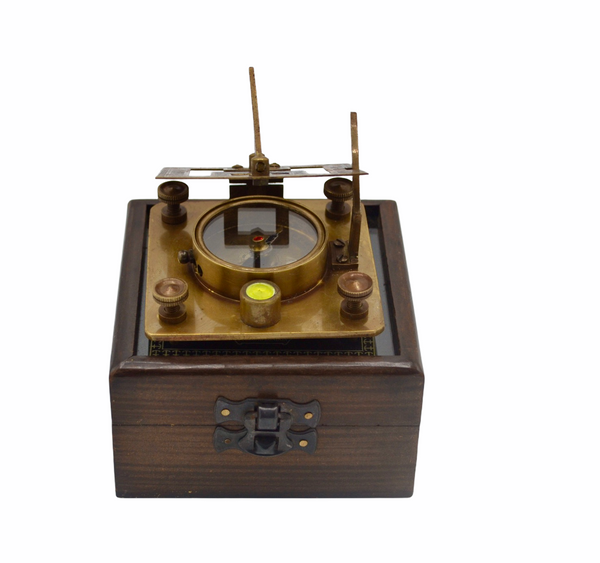 "Bronze 3""  Square Folding Sundial Compass in a Etched Glass Top Box"
