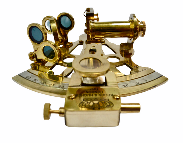Large Brass Lifeboat Midi Sextant in a wood or glass topped box