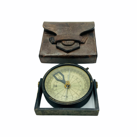 Antique British Forces circa 1928 Surveying Clinometer Compass in a Original Leather Case & Wood Box
