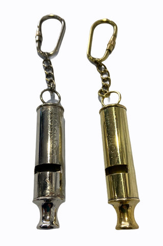 Brass or Chrome Police Whistle Key Ring