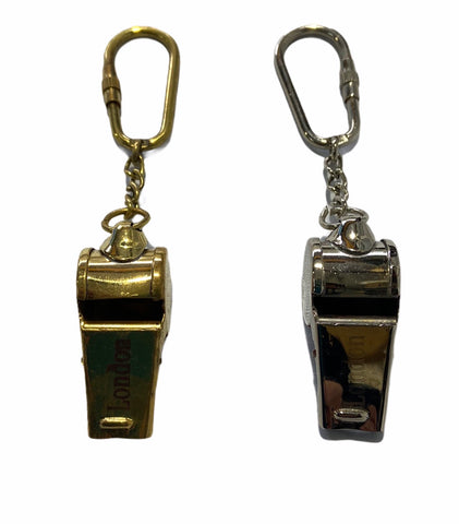 Brass or Chrome Referee Whistle Key Ring