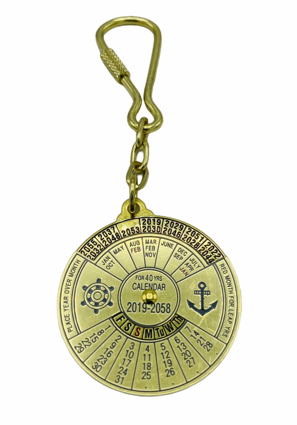 Brass 40 Year Perpetual Calendar  Key Ring