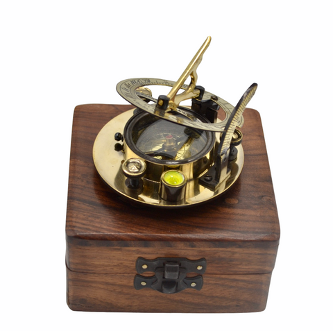"Brass 3"" Round Folding Sundial Compass in a box"
