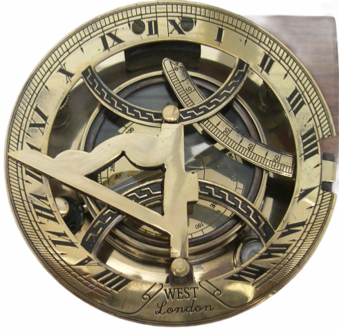 "Big Brass 4.5"" Round Folding Sundial Compass in a wood box"