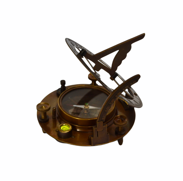 "Big Bronze 4.5"" Round Folding Sundial Compass in a wood box"