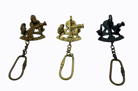 Ship's Sextant Key Ring ( Brass, Bronze & Black )