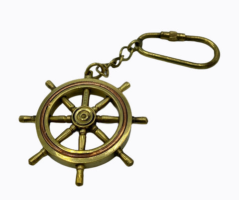 Brass Ship's Wheel Key Ring