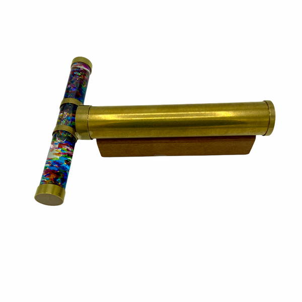 "Large 7"" Brass Tube Oil Kaleidoscope on a wood stand"
