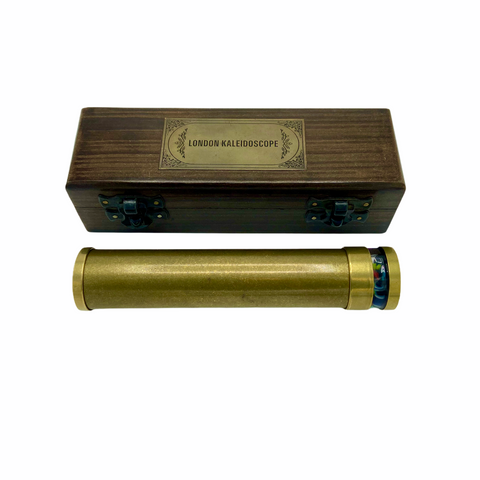 "Brass 6"" Oil Turning Kaleidoscope in a special wooden box."