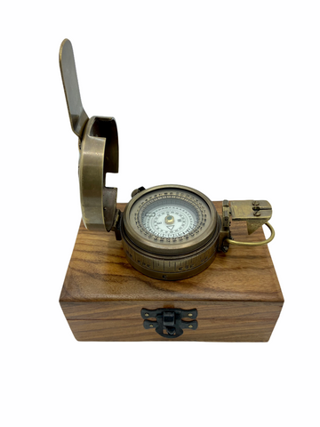 Bronze Army-Style Prismatic Marching Compass in a wood box