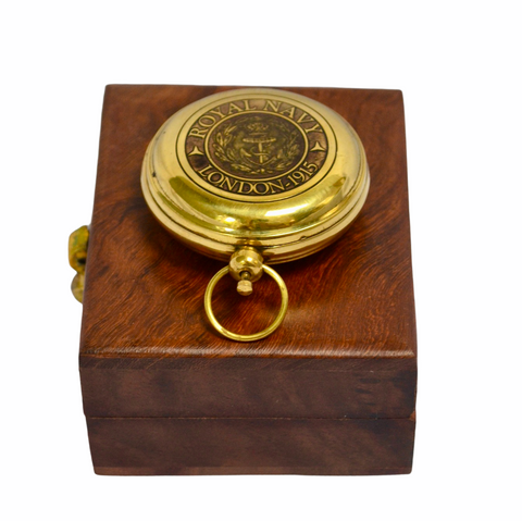 "Brass Royal Navy Style 2"" Pocket Compass in a Wood Box"