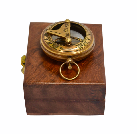 "Bronze 2"" Pocket Sundial Compass in a box"