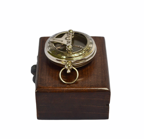 "Chrome 2"" Pocket Sundial Compass in a wood box"