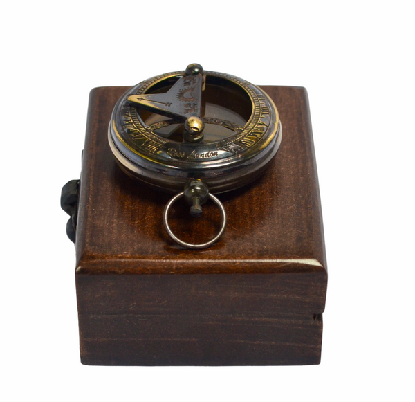 "Black 2"" Pocket Sundial Compass in a wood box"