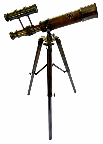 10-inch Black Leather Double Telescope on a 15-inch Black Metal Tripod