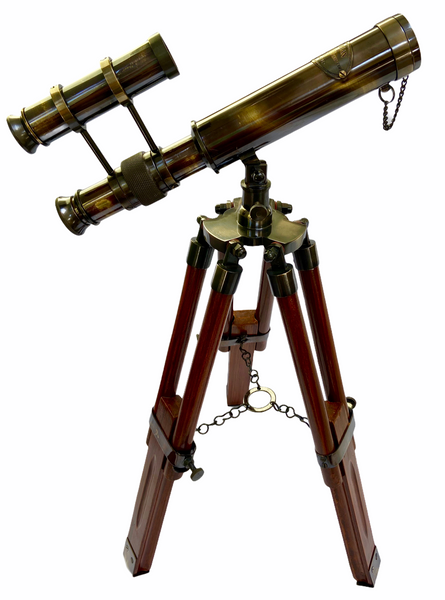 10-inch Black Double Telescope on a 15-inch Wood & Black Tripod