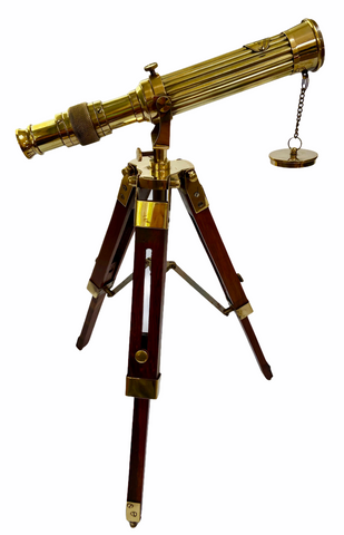 10-inch Brass Ribbed Telescope on a 15-inch Wood & Brass Tripod