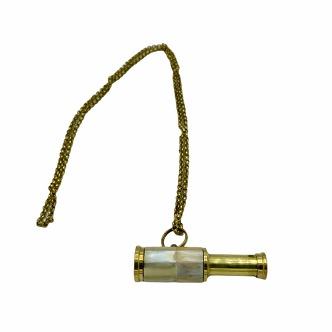 Mini Brass Telescope on a Brass Chain ( 3 Styles )
