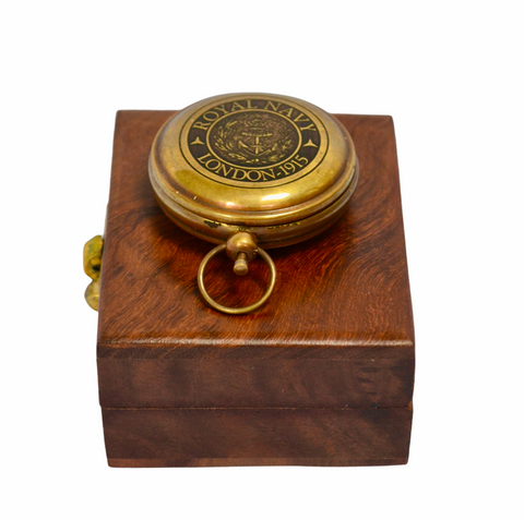 "Bronze Royal Navy Style 2"" Pocket Compass in a Wood Box"