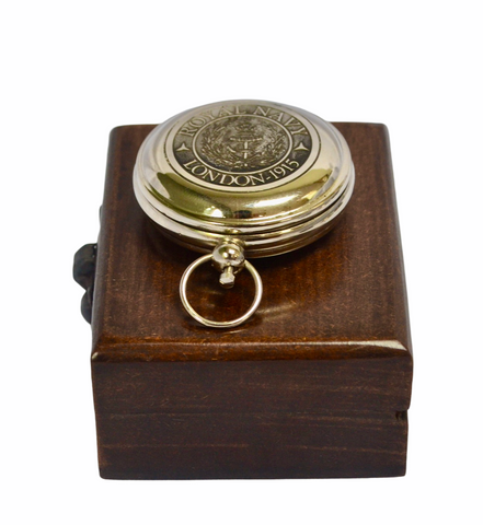 "Chrome Royal Style 2"" Pocket Compass in a wood box"