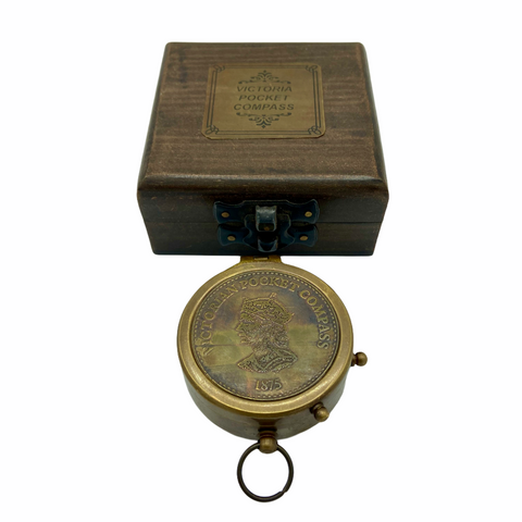 "Bronze 2.5 ""Victoria Compass in a special wood box"