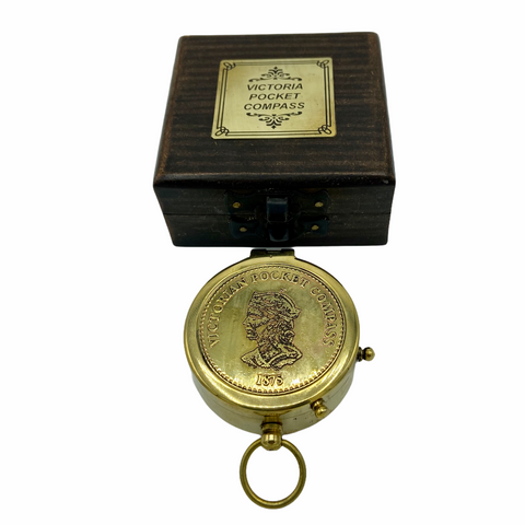 "Brass 2.5 "" Victoria Compass in a special wood box"