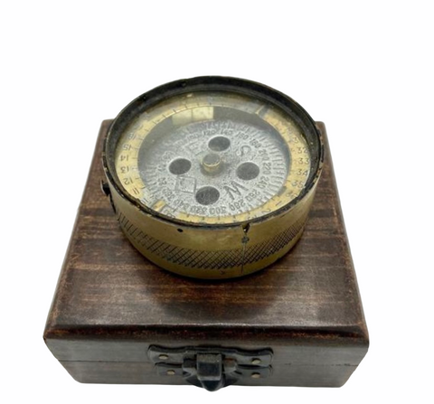 Antique Brass 1944 British Forces Magnetic Training Compass in a wood box