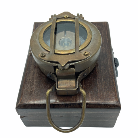 "Bronze 2.5"" Military-Style Lensatic Scout Compass in a box"