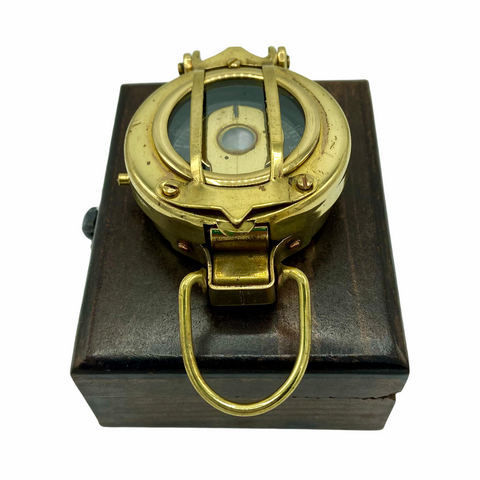 "Brass 2.5"" Military-Style Lensatic Scout Compass in a wood box"