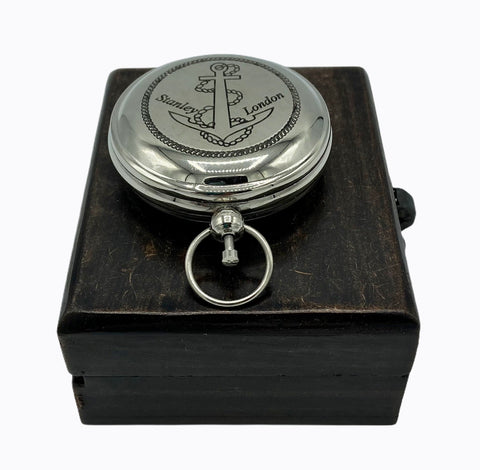 Chrome 2' Anchor Pocket Compass in a wood box