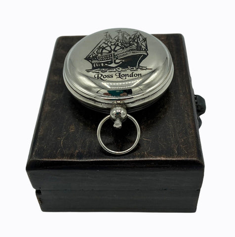 Chrome 2: Ship Pocket Compass in a wood box