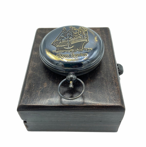 "Black 2"" Ship Pocket Compass in a wood box"