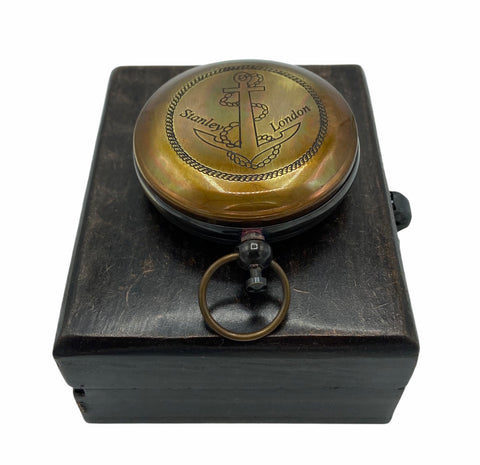 "Black Anchor 2"" Pocket Compass in a Wood Box."