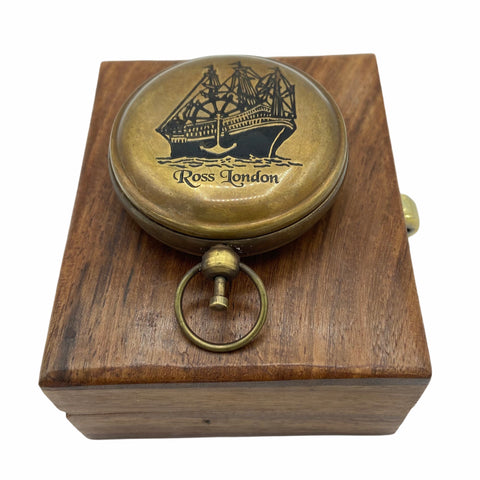 "Bronze 2 ""Ship Pocket Compass in a wood box"