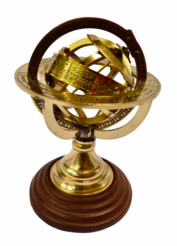 "Brass 5"" Celestial Spherical Astrolabe or Armillary Sphere"