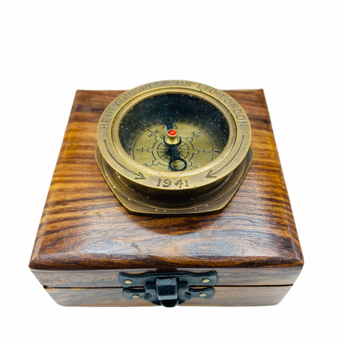 "Bronze 2.5"" Large Navy Style Compass in a wood box"