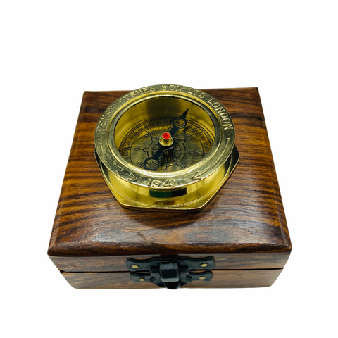 "Brass 2.5"" Large Navy Style Compass in a wood box."