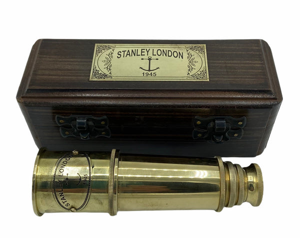 "15"" Brass 3 Draw Stanley Conical Telescope"