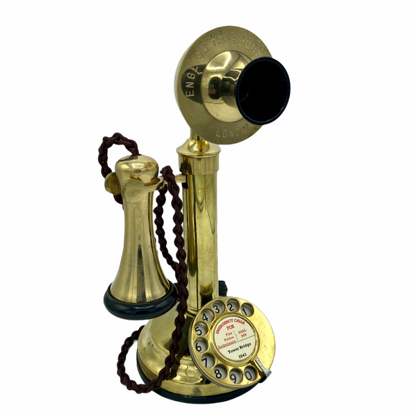 Brass 1920's Style Candlestick Telephone with a Black Cone