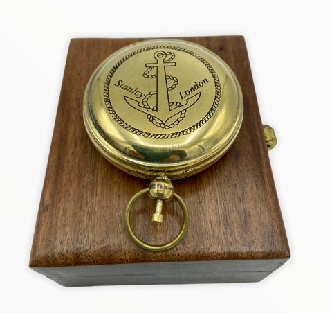 "Brass 2"" Anchor Pocket Compass in a wood box"