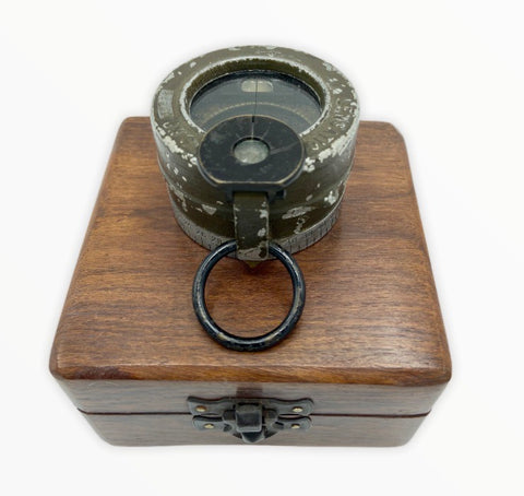 Antique US Forces Green M-1938 Lensatic Compass in a wooden box