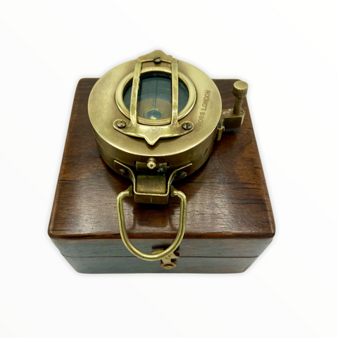 "Brass 3"" Glass Bottomed Surveying Compass in a Wood Box"