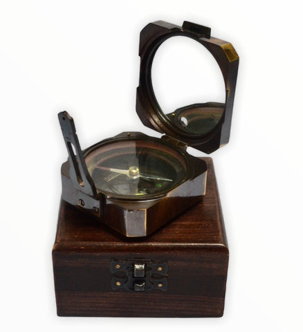 Black 3.5 Square Brunton  Pocket Transit Surveying or Geology Compass in a Wood Box
