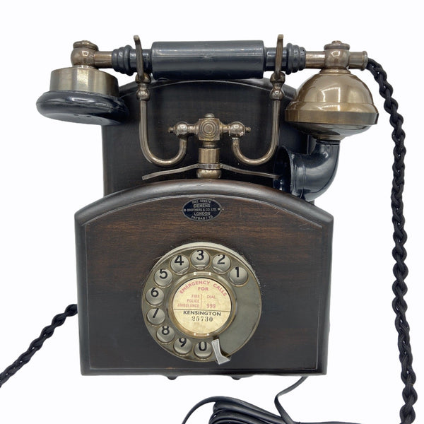 1930's Style Bronze Wood Wall Cradle Telephone