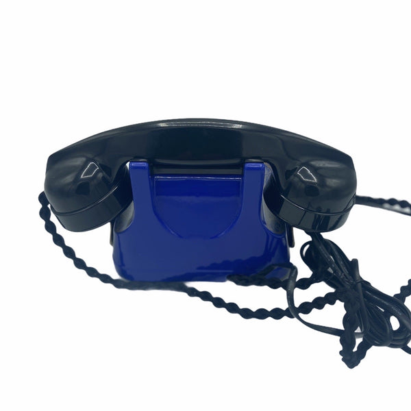Blue 1950's Original Antique Belgium Bell Telephone with a carrying handle