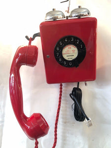 Antique 1940's Red Bakelite Swiss Wall Telephone