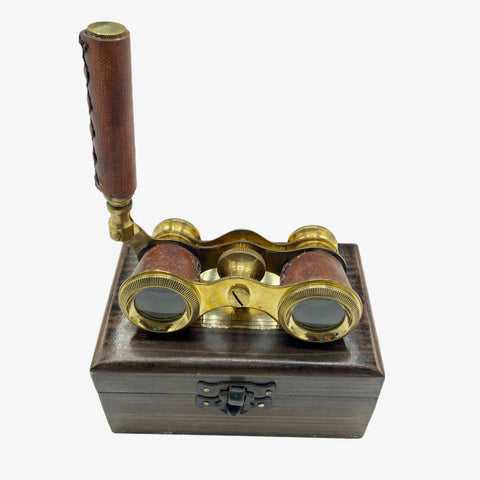 Red Leather Brass Opera Glasses in a Wood Box