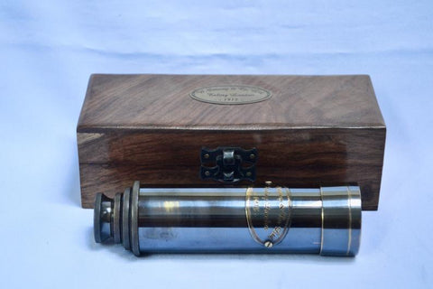 "16"" Black Gunmetal Ottway 4 Draw Telescope in a wood box."