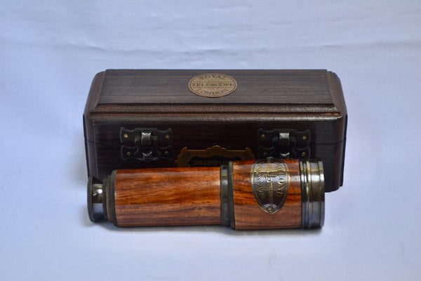 "20"" Black & Wood Dolland 4 Draw Telescope in a wood box"